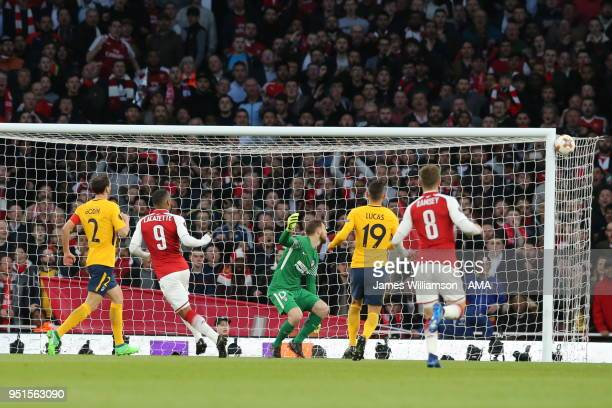 Alexandre Lacazette of Arsenal hits the post during the UEFA Europa League Semi Final leg one match between Arsenal FC and Atletico Madrid at...