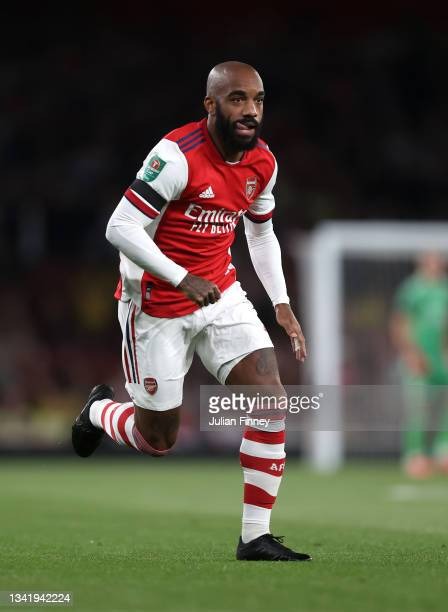 Alexandre Lacazette of Arsenal in action during the Carabao Cup Third Round match between Arsenal and AFC Wimbledon at Emirates Stadium on September...