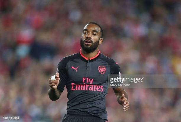 Alexandre Lacazette of Arsenal in action during the match between Sydney FC and Arsenal FC at ANZ Stadium on July 13 2017 in Sydney Australia