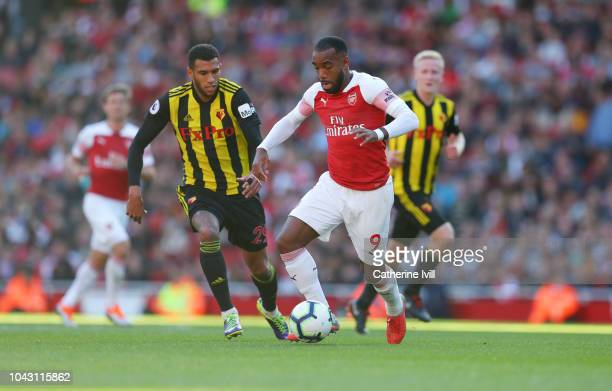 Alexandre Lacazette of Arsenal in action during the Premier League match between Arsenal FC and Watford FC at Emirates Stadium on September 29 2018...