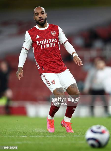 Alexandre Lacazette of Arsenal in action during the Premier League match between Arsenal and Manchester City at Emirates Stadium on February 21, 2021...