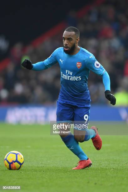 Alexandre Lacazette of Arsenal in action during the Premier League match between AFC Bournemouth and Arsenal at Vitality Stadium on January 14 2018...