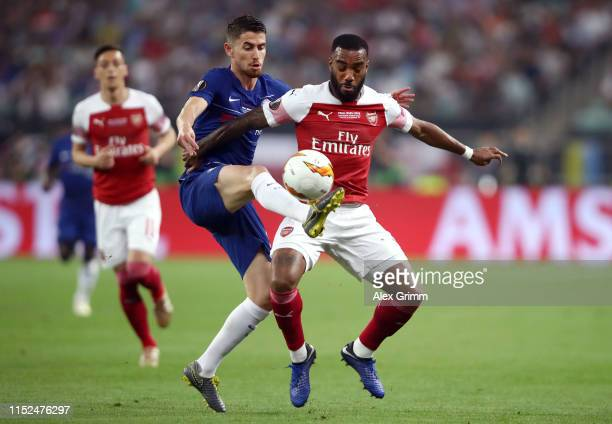 Alexandre Lacazette of Arsenal is challenged by Jorginho of Chelsea during the UEFA Europa League Final between Chelsea and Arsenal at Baku Olimpiya...