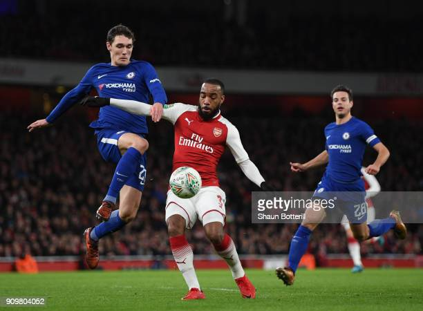 Alexandre Lacazette of Arsenal is tackled by Andreas Christensen of Chelsea during the Carabao Cup SemiFinal Second Leg at Emirates Stadium on...