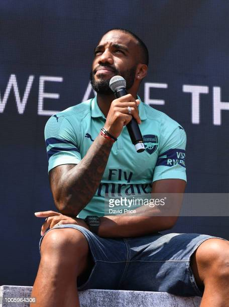 Alexandre Lacazette of Arsenal launches the new Arsenal Puma 3rd kit at Esplande Theatres on the Bay on July 27 2018 in Singapore