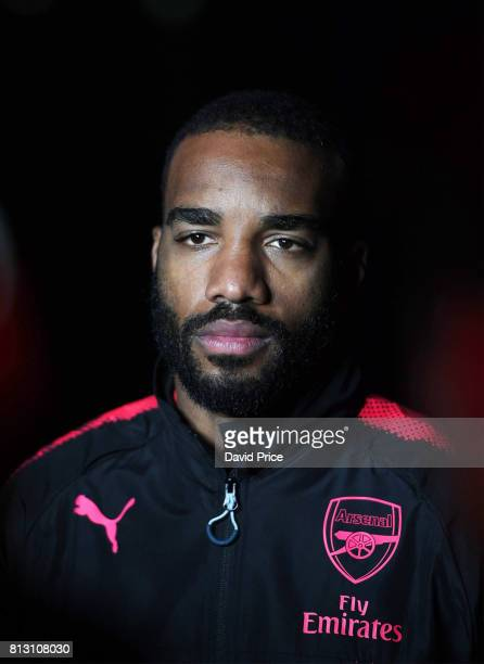 Alexandre Lacazette of Arsenal launches the new Puma Arsenal 3rd kit on Fort Dennison on July 12 2017 in Sydney Australia