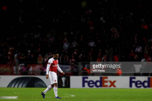 Alexandre Lacazette of Arsenal leaves the pitch after being sent off during the UEFA Europa League Round of 32 First Leg match between BATE Borisov...