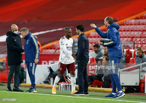 Alexandre Lacazette of Arsenal looks dejected after being substituted during the Premier League match between Liverpool and Arsenal at Anfield on...