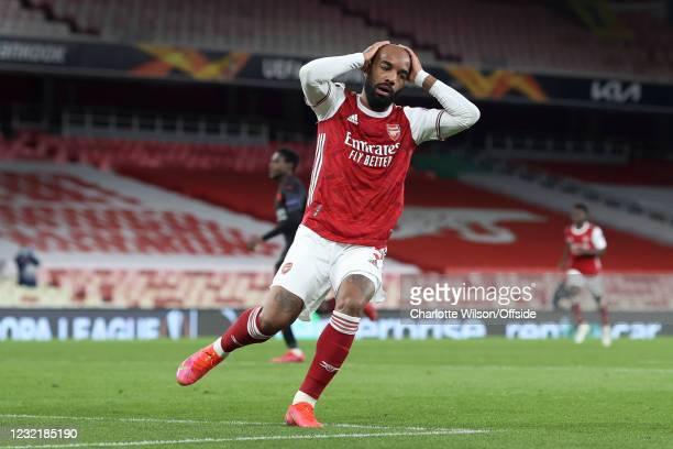 Alexandre Lacazette of Arsenal looks dejected after hitting the bar during the UEFA Europa League Quarter Final First Leg match between Arsenal FC...