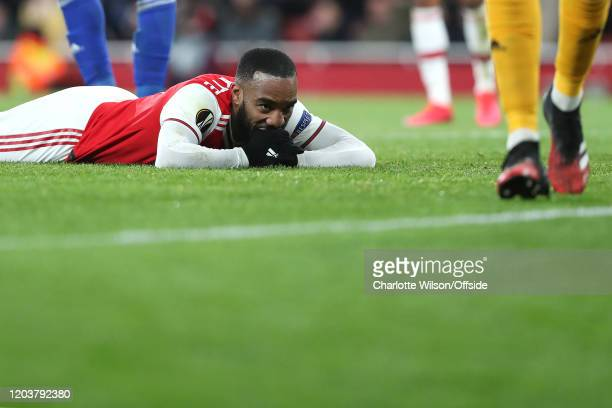 Alexandre Lacazette of Arsenal looks dejected after missing a shot during the UEFA Europa League round of 32 second leg match between Arsenal FC and...