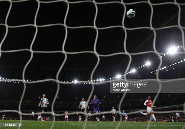 Alexandre Lacazette of Arsenal looks on after lobbing Martin Dubravka of Newcastle United to score their 2nd goal during the Premier League match...