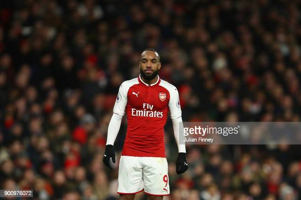 Alexandre Lacazette of Arsenal looks on during the Premier League match between Arsenal and Chelsea at Emirates Stadium on January 3 2018 in London...