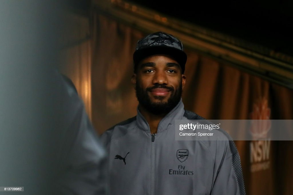 Alexandre Lacazette of Arsenal looks out to the pitch from the players tunnel prior to the match between Sydney FC and Arsenal FC at ANZ Stadium on July 13, 2017 in Sydney, Australia.