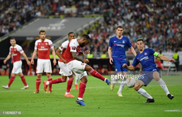 Alexandre Lacazette of Arsenal misses a chance during the UEFA Europa League Final between Chelsea and Arsenal at Baku Olimpiya Stadionu on May 29...
