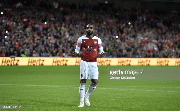 Alexandre Lacazette of Arsenal reacts after scoring during the Preseason friendly International Champions Cup game between Arsenal and Chelsea at...