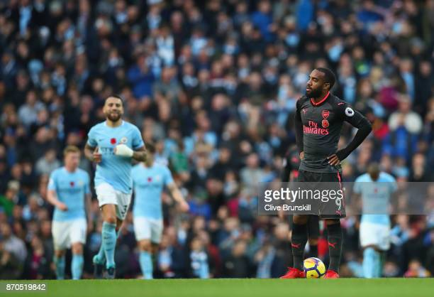 Alexandre Lacazette of Arsenal reacts during the Premier League match between Manchester City and Arsenal at Etihad Stadium on November 5 2017 in...