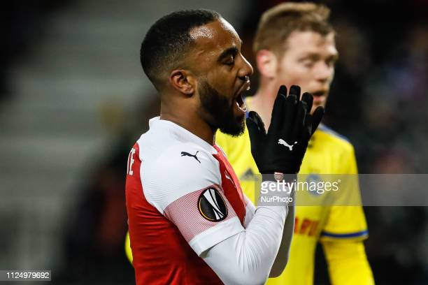 Alexandre Lacazette of Arsenal reacts during the UEFA Europa League Round of 32 first leg match between FC BATE Borisov and Arsenal FC on February 14...