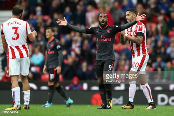 Alexandre Lacazette of Arsenal reacts to having his goal rulled for offisde during the Premier League match between Stoke City and Arsenal at Bet365...