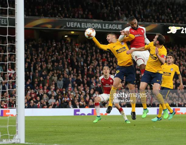 Alexandre Lacazette of Arsenal scores a goal during the Europa League semi final leg one match between Arsenal and Atletico Madrid at The Emirates...