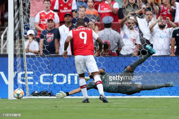 Alexandre Lacazette of Arsenal scores a goal to make it 0-1 during the International Champions Cup fixture between Real Madrid and Arsenal at...