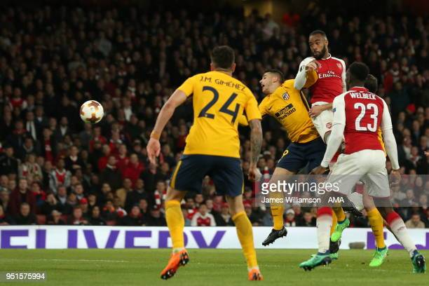 Alexandre Lacazette of Arsenal scores a goal to make it 10 during the UEFA Europa League Semi Final leg one match between Arsenal FC and Atletico...