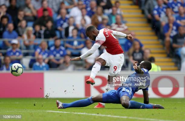 Alexandre Lacazette of Arsenal scores a goal to make it 23 during the Premier League match between Cardiff City and Arsenal FC at Cardiff City...
