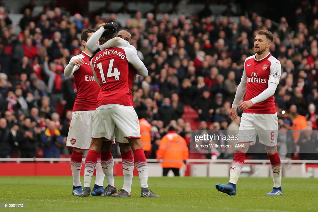 Alexandre Lacazette of Arsenal scores a goal to make it 3-0 during the Premier League match between Arsenal and Stoke City at Emirates Stadium on April 1, 2018 in London, England.