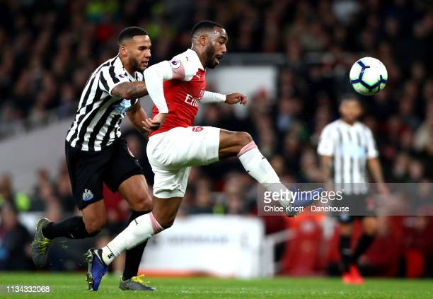 Alexandre Lacazette of Arsenal scores his teams second goal during the Premier League match between Arsenal FC and Newcastle United at The Emirates...