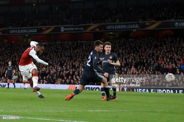 Alexandre Lacazette of Arsenal scores their 4th goal during the UEFA Europa League quarter final leg one match between Arsenal FC and CSKA Moskva at...