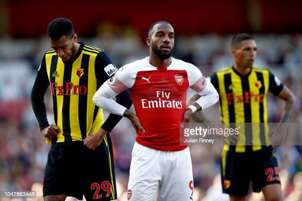 Alexandre Lacazette of Arsenal stands dejected during the Premier League match between Arsenal FC and Watford FC at Emirates Stadium on September 29...