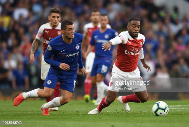 Alexandre Lacazette of Arsenal takes on Mateo Kovacic of Chelsea during the Premier League match between Chelsea FC and Arsenal FC at Stamford Bridge...