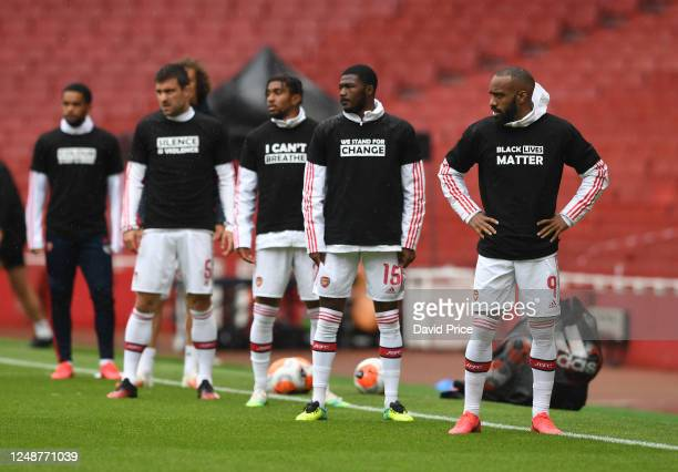 Alexandre Lacazette of Arsenal warms up before the friendly match between Arsenal and Brentford at Emirates Stadium on June 10 2020 in London England