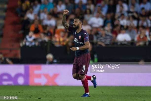 Alexandre Lacazette of FC Arsenal celebrates after scoring his team's second goal during the UEFA Europa League Semi Final Second Leg match between...