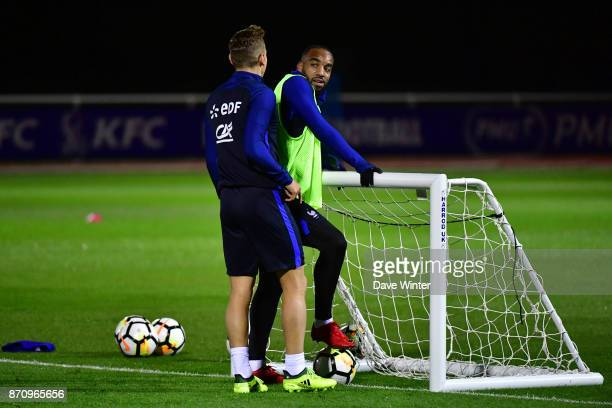 Alexandre Lacazette of France and Lucas Digne of France during the training session at the Centre National de Football in Clairefontaine en Yvelines...