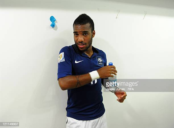 Alexandre Lacazette of France leans against a wall in his team's dressing room after the FIFA U20 World Cup Colombia 2011 quarter final match between...