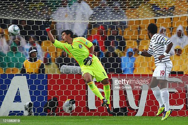 Alexandre Lacazette of France scores his team's first goal against goalkeeper Jose Rodriguez of Mexico during the FIFA U20 World Cup 2011 3rd place...