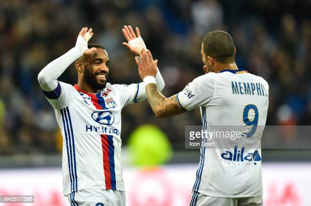 Alexandre Lacazette of Lyon and Memphis Depay of Lyon during the French Ligue 1 match between Lyon and Metz at Stade de Gerland on February 26 2017...