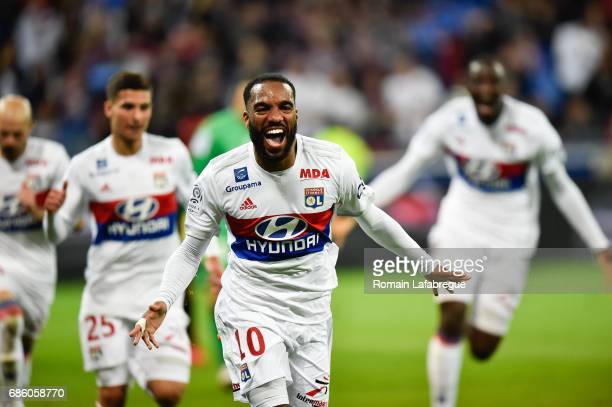 Alexandre Lacazette of Lyon celebrate his goal during the Ligue 1 match between Olympique Lyonnais and OGC Nice at Stade des Lumieres on May 20 2017...