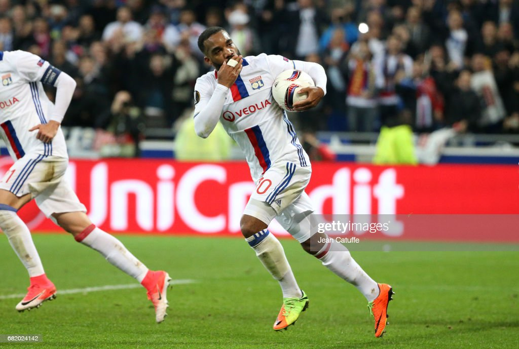 Alexandre Lacazette of Lyon celebrates his first goal during the UEFA Europa League, semi final second leg match between Olympique Lyonnais (OL) and Ajax Amsterdam at Parc OL on May 11, 2017 in Lyon, France.