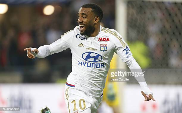Alexandre Lacazette of Lyon celebrates his goal during the French Ligue 1 match between Olympique Lyonnais and Troyes ESTAC at their brand new...