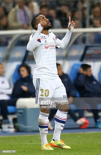 Alexandre Lacazette of Lyon celebrates his goal during the French League Cup Final between Olympique Lyonnais OL and Paris SaintGermain FC at Stade...
