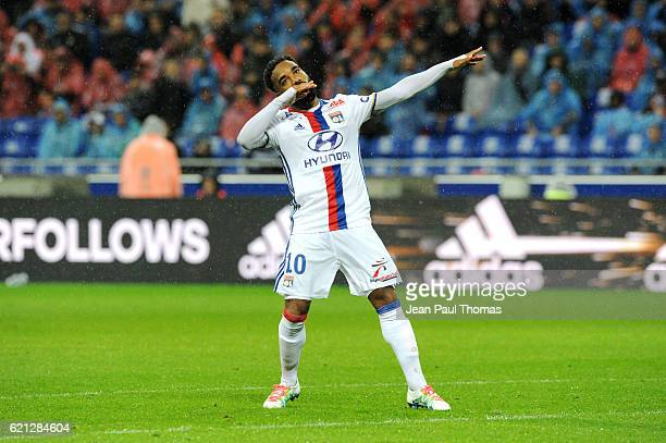 Alexandre LACAZETTE of Lyon celebrates scoring his goal during the Ligue 1 match between Olympique Lyonnais and SC Bastia at Stade de Gerland on...