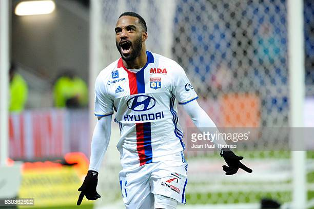 Alexandre LACAZETTE of Lyon celebrates scoring his goal during the Ligue 1 match between Olympique Lyonnais and SCO Angers at Stade des Lumieres on...