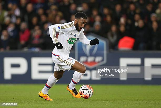 Alexandre Lacazette of Lyon in action during the French Cup match between Paris SaintGermain and Olympique Lyonnais at Parc des Princes stadium on...