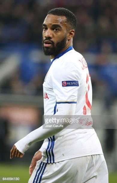 Alexandre Lacazette of Lyon looks on during the UEFA Europa League Round of 32 second leg match between Olympique Lyonnais and AZ Alkmaar at Parc OL...