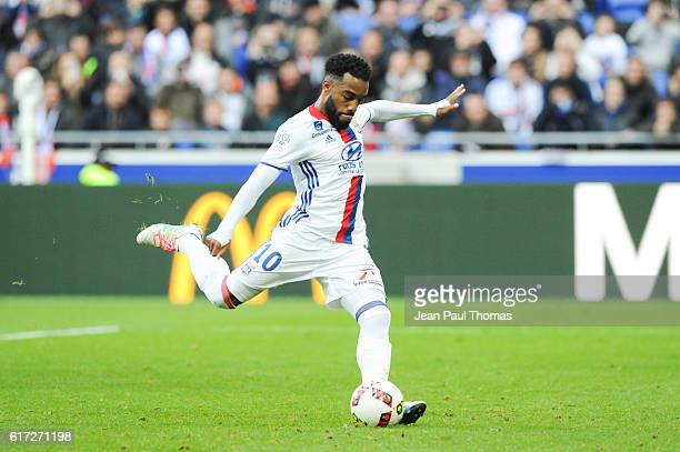 Alexandre LACAZETTE of Lyon scores a goal during the Ligue 1 between Lyon and Guingamp at Stade de Gerland on October 22 2016 in Lyon France