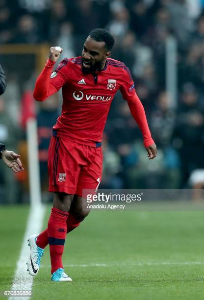 Alexandre Lacazette of Olympique Lyonnais celebrates after scoring during the UEFA Europa League quarter final second match between Besiktas and...