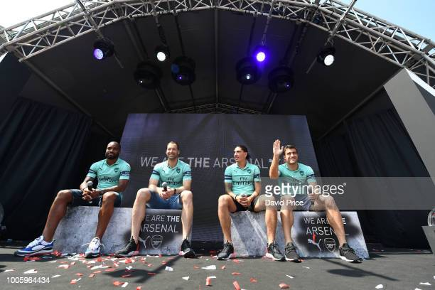 Alexandre Lacazette Petr Cech Hector Bellerin and Sokratis Papastathopouplos of Arsenal launch the new Arsenal Puma 3rd kit at Esplande Theatres on...