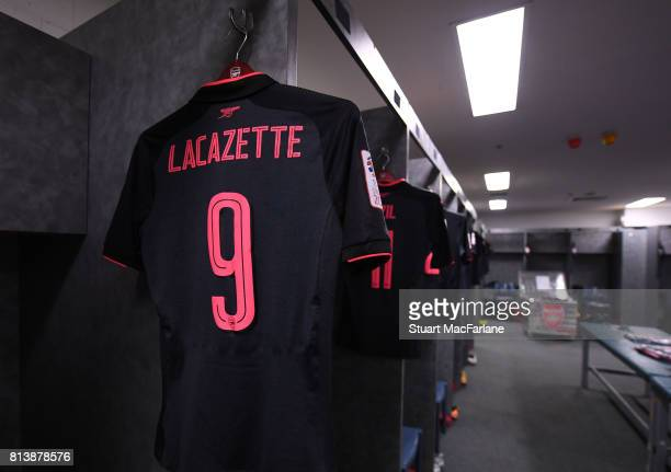 Alexandre Lacazette's shirt in the Arsenal changing room before the preseason friendly match between Sydney FC and Arsenal at ANZ Stadium on July 13...