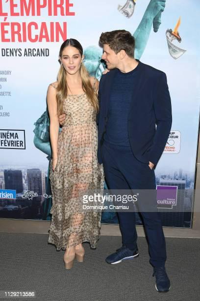 Alexandre Landry and Maripier Morin attend La Chute De L'Empire Americain at Cinema UGC Normandie on February 12 2019 in Paris France